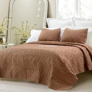 NEW 3pc Brown Quilted Cotton Queen Coverlet Sets